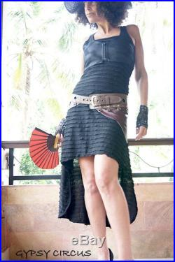 Tribal Leather Skirt Steampunk Burning Man Hip Leather Skirt Sexy Leather Hipster Skirt Burgundy and Brown Leather One Size