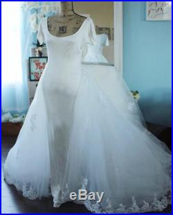 Tulle Detachable Train 5ft Lace Beaded Tulle Train Cathedral Train Bridal Skirt Beaded Sparkle Train Tulle Wedding Train