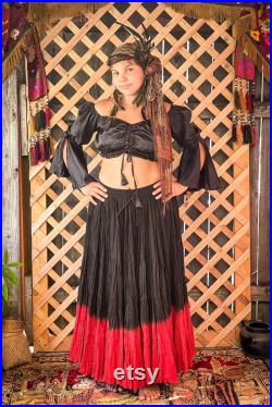 Two Toned Red and Black 25 Yard Skirt Long Renaissance Cotton Circle Skirt Pirate Bustle Skirt Gypsy Tribal Belly Dance Skirt Peasant Skirt