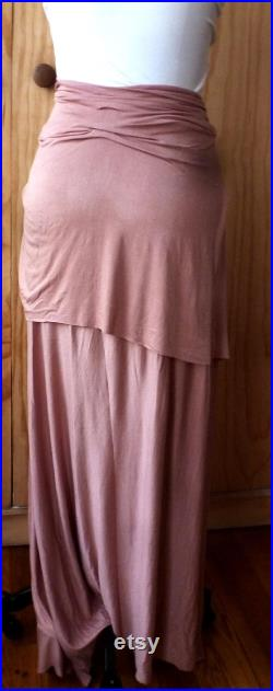 Two layered mauve drape below the calf skirt with uneven hem line stitch and details fabric is rayon lycra jersey handmade by Cheryldine