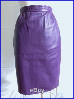 UNGARO PARALLELE Purple Lambskin LEATHER Body Con Pencil Skirt Studio 54 1980s Glam Vintage Couture and Flawless Luxury An Alaia Deadringer
