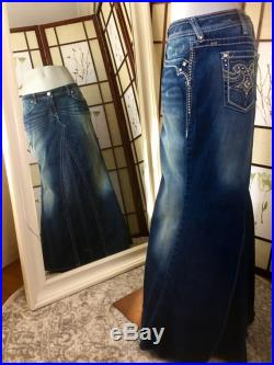 Unique, handmade, up-cycled Lariat Jeans denim maxi skirt. US Size 32 or 13 14