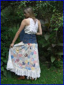Upcycled One Of A Kind Boho Hippie Antique Quilt Patchwork Denim Jean Skirt Hand Crochet Lace Ruffle Size 14
