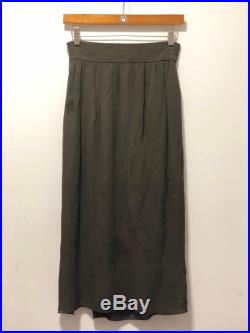 VALENTINO Miss V Collection Vintage 1980's Olive Green Maxi Skirt with Forrest Green Peek-A-Boo Lace Detail