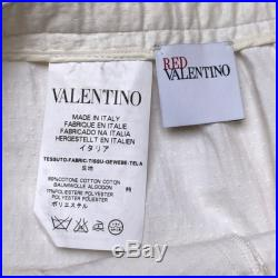 VALENTINO Stunning Red Valentino white waffle weave skirt with navy ribbon trim and pockets Made in Italy