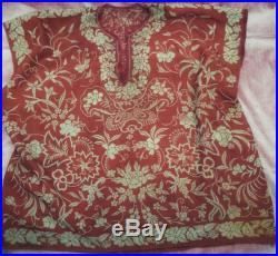 VERY OLD Chinese Blouse 1870s All hand embroidered Floral Design Very fine and Delicate Handwork.