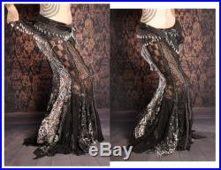 Vampire Bride Long Lace Skirt, Black fitted Mermaid style. sexy Gothic Victorian, Belly Dance, Gothic Steampunk Wedding, tattered, witchy