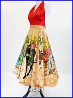 Vibrant Vintage 1950s Mexico Circle Skirt Handpainted Donkey M