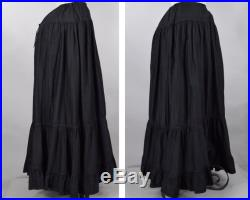 Victorian Edwardian Black Cotton Mourning Under Skirt Petticoat with Crystal Pleating M L