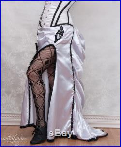 Victorian Passion Bustle Skirt and Petticoat White and Black Ready to Ship