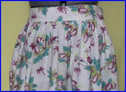 Vintage 1950's Full Mid-Calf Cotton Skirt, Tropical Palm Trees and Coconuts