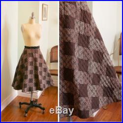 Vintage 1950's Novelty Print Circle Skirt 50's Atomic Print Quilted Circle Skirt Size xs