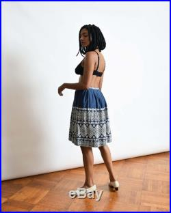 Vintage 1950s Blue Aztec Skirt 50s Woven Cotton Skirt 25 XS S