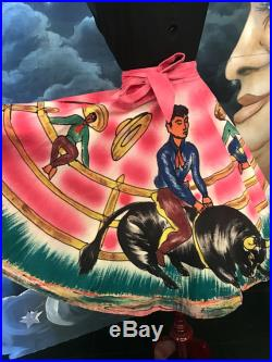 Vintage 1950s Hand Painted Rodeo Bull Riding Scene Cotton Mexican Wrap Skirt Size Small