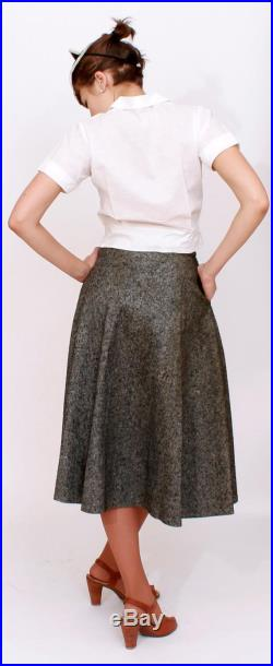 Vintage 1950s High Waisted Dark Gray Felted Wool Circle Skirt XS