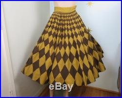 Vintage 1950s NOS Londy of Mexico hand painted brown yellow harlequin circle skirt w pocket XS 57
