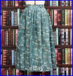 Vintage 1950s Teal Blue and White Boats Sailing Ships Nautical Novelty Print Summer Cotton Skirt UK 8 10 small medium US 6 rockabilly 50s