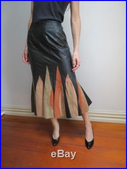 Vintage 1970's Black Leather Suede Flame Details Skirt Size 8 AUS