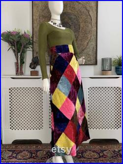 Vintage 1970s VELVET PATCHWORK Maxi Skirt Mr Freedom Style Early 70s Pop Art Boutique Carnaby Street Kings Road Hippie Boho Bohemian