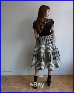 Vintage 40s Cotton Ric Rack and Plaid Circle Skirt 1940s Black White Full Patio Skirt Size XS