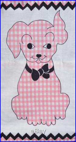 Vintage 50s NOVELTY Print Skirt 1950s DOGS PUPPY Gingham Pink Checks Cotton Ric Rac Full Swing Skirt Pinup High Waist 25 26 Xs Small