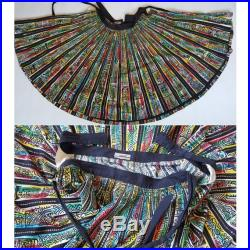 Vintage 50s Sequin Aztec Painted Full Circle Skirt Colorful Mexican Souvenir Skirt Size M L Waist 31 32 inches Made in Mexico