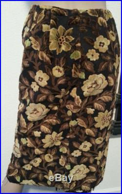 Vintage 60's Floral Tapestry Carpet Wiggle High Waisted Pencil Skirt