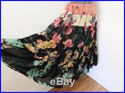 Vintage 60s 70s London Boutique Luxury Bohemian Tiered Full Skirt Mixed Floral Sheer Chiffon MUSHROOM Label for Perlei XS S Small Exquisite