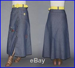 Vintage 60s High Waisted Denim Skirt GROOVY HANDMADE PATCHES Woman Symbol, Flowers, Bumble Bee, Love Hippie, Woodstock, Protest Xs