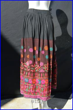 Vintage 70's hippie skirt Ethnic Embroidered Mirrored Indian Skirt Maxi Boho Indian festival party antique textile by thekaliman