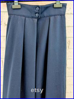 Vintage 70s Christian Dior 100 Worsted Wool Navy Blue Maxi Skirt Button Pleated Front with tags size 4 Classic, Chic, Timeless