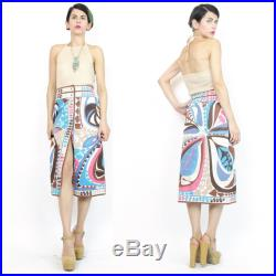 Vintage 70s Emilio PUCCI Skirt Mod Abstract Psychedelic Print Skirt Designer Signed Stretch Cotton Pencil Skirt Snap Front Skirt (S) E548