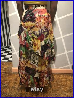 Vintage 90s ICEBERG Tiered Ruffle Chiffon Skirt Psychedelic Produce Allover Print Made in Italy Size 40