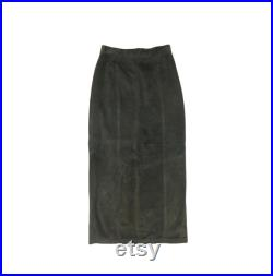 Vintage Army Green Danier Leather Suede Pencil Skirt, Size 8 Long Suede Skirt Leather