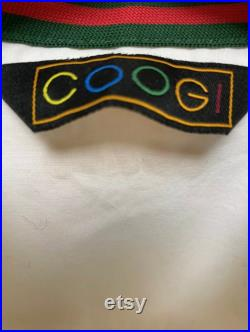 Vintage BNWT COOGI Australia Hip-Hop White Studded Snap Closure Military Style Fitted Blouse with elastic waistband, size Medium