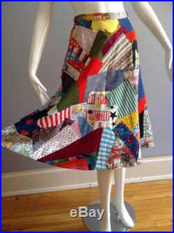 Vintage Bohemian Patchwork Skirt Boho Hippie Quilted Flared Skirt Whimsical Summer Cotton Festival A Line