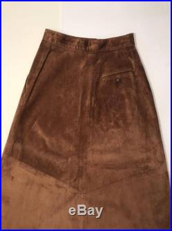 Vintage Bohemian Talbots Genuine Leather Suede Long Skirt with Pockets