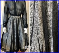 Vintage Deadstock 1950 s CEIL CHAPMAN Lace Overlay Cocktail Skirt