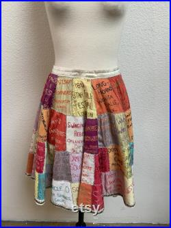 Vintage Incredible Square Dance Embroidered Patchwork Skirt 1960s 50s VERY rare OOAK