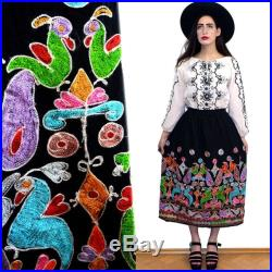 Vintage OAXACAN Navajo Mexican Embroidery Poncho Tunic Festival Skirt 70s Hippie Cape Festival Blanket Draped Tent Flared Boho Ethnic 70s