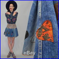 Vintage ROBERTO CAVALLI Leather Heart Shaped Patchwork Beaded Embroidered Skater Circle Mini Skirt Embellished High Waist Grunge Cowboy 90s