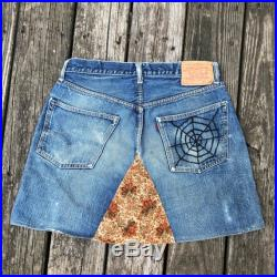 Vintage Rare Distressed Big E Levis Red Tab Jeans Mini Skirt Selvedge Denim Button Fly Perfect Fade