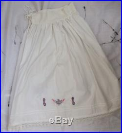 Vintage antique Hungarian cotton linen canvas folk peasant skirt with lace and hand embroidery monogram French country rustic summer floral