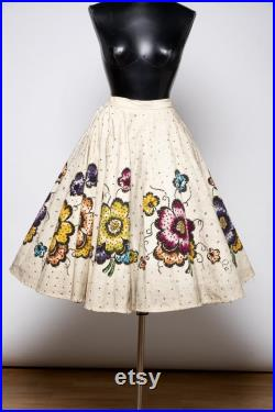 Vintage circle skirt hand painted mexican full circle skirt original 50's Mexican handpainted flowers with sequins full skirt.