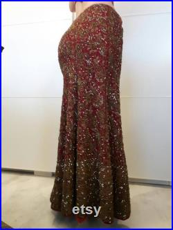 Vintage darker red lengha skirt in mermaid style with a beautiful bronze goldwork and rhinestone embroidery (size Medium)