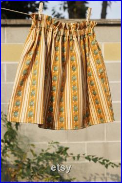 Vintage striped cotton skirt with pockets ONE SIZE