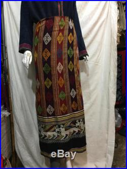Vintage tribal white Thai handwoven Tubeskirt in Nghe an province,bodering between Lao and Vietnam