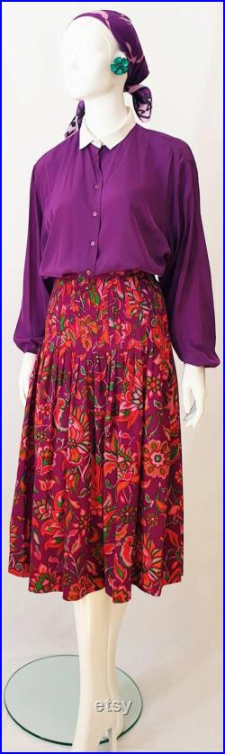 Vtg 80s YSL Yves Saint Laurent Colourful High Waist Pleat Gathered Midi Skirt in Fine Wool Vivid Floral Print Violet Reds Pink Green Tones
