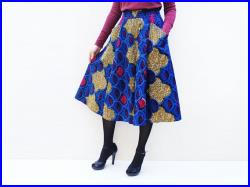 WEEKEND SALE Blue Full Flared African Midi Skirt with Pockets and Elastic Waist