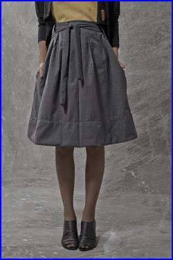 WINTER SALE 15 , glossy BLUE height waist skirt, with pleats, belt and pockets